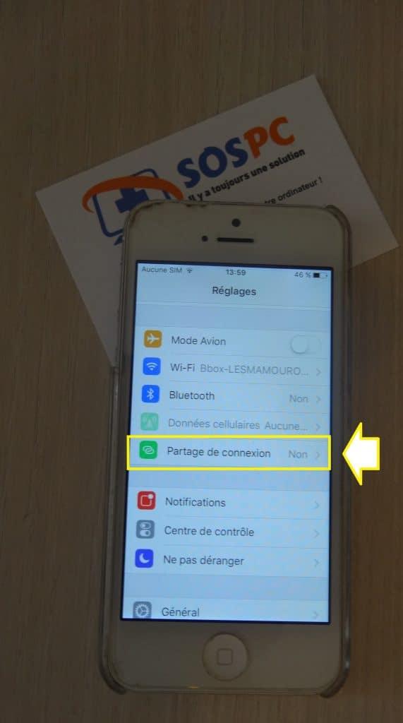 Apple iPhone utilisez le partage de connexion. Tutoriel