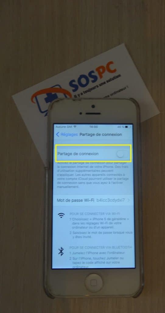 Apple iPhone utilisez le partage de connexion. Tutoriel détaillé