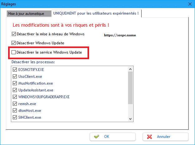 bloquer Windows Update et ses processus