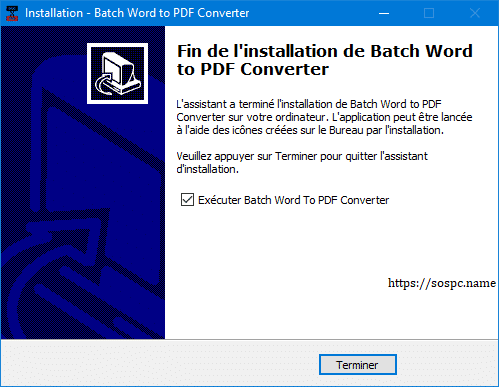 Batch WORD to PDF Converter, tutoriel. www.SOSPC.name.