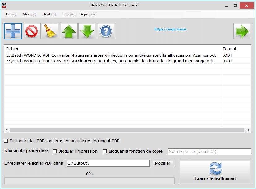 Batch WORD to PDF Converter, exemple d'utilisation 3