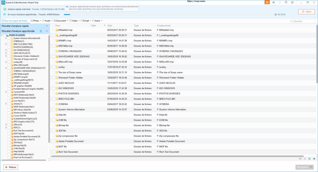 EaseUS Data Recovery Wizard Pro 12.0. Tutoriel d'utilisation.