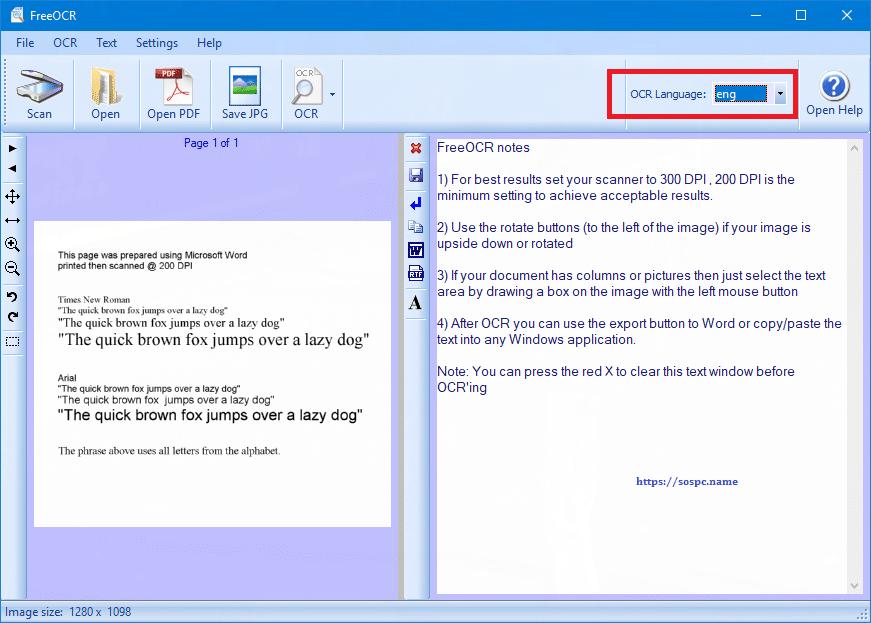 FreeOCR logiciel gratuit de reconnaissance de caractères