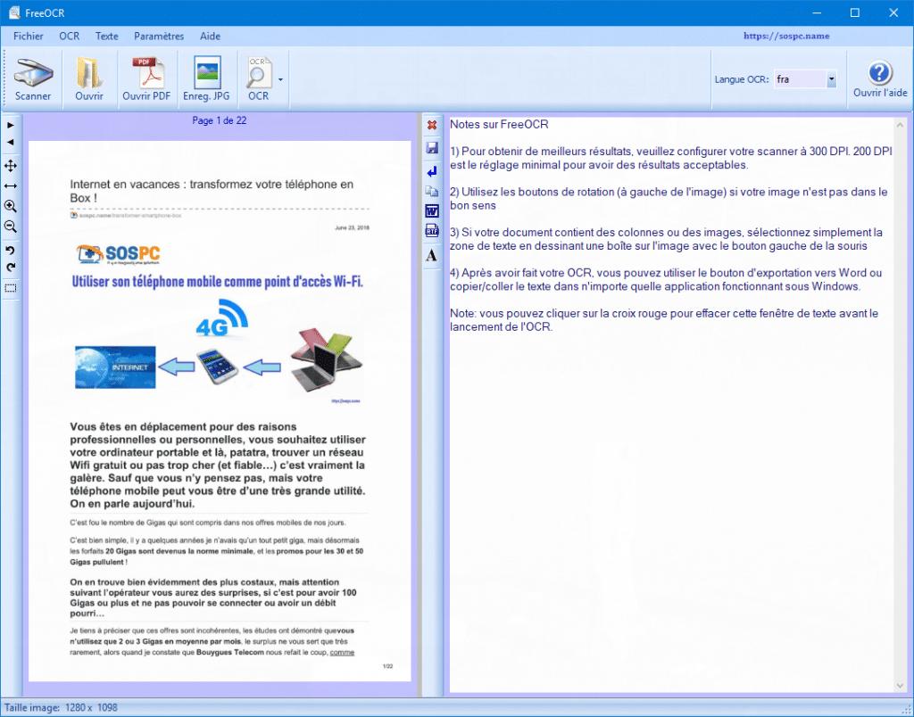 FreeOCR : exemples d'utilisation sur SOSPC.