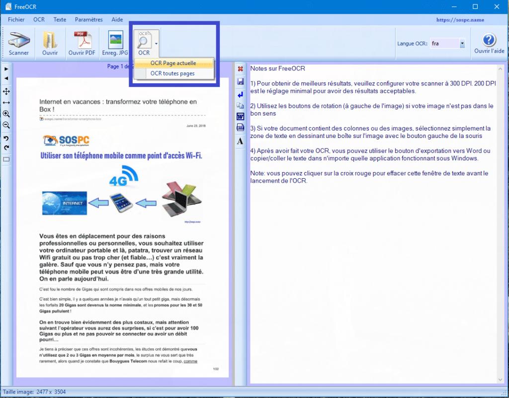 FreeOCR : exemples d'utilisation sur SOSPC.name.