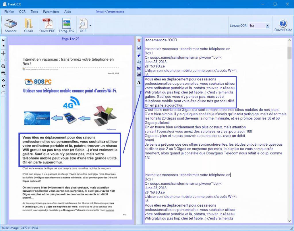 FreeOCR : exemples d'utilisation tutoriel détaillé