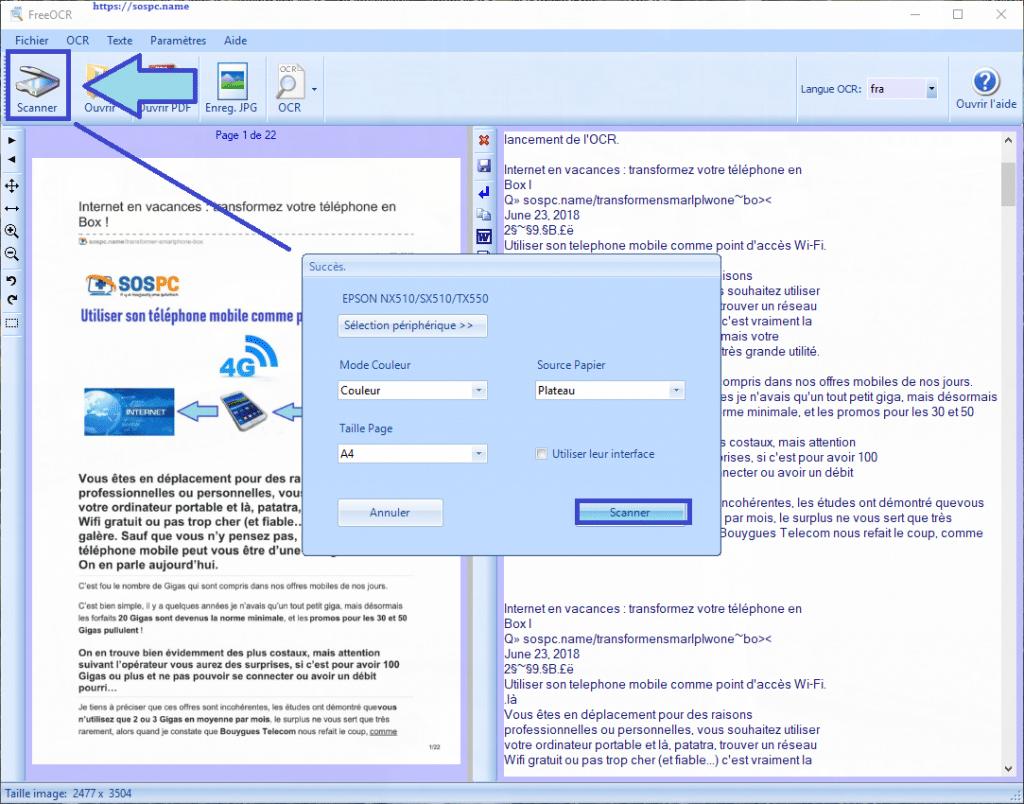 FreeOCR : exemples d'utilisation tutoriel détaillé pas à pas.