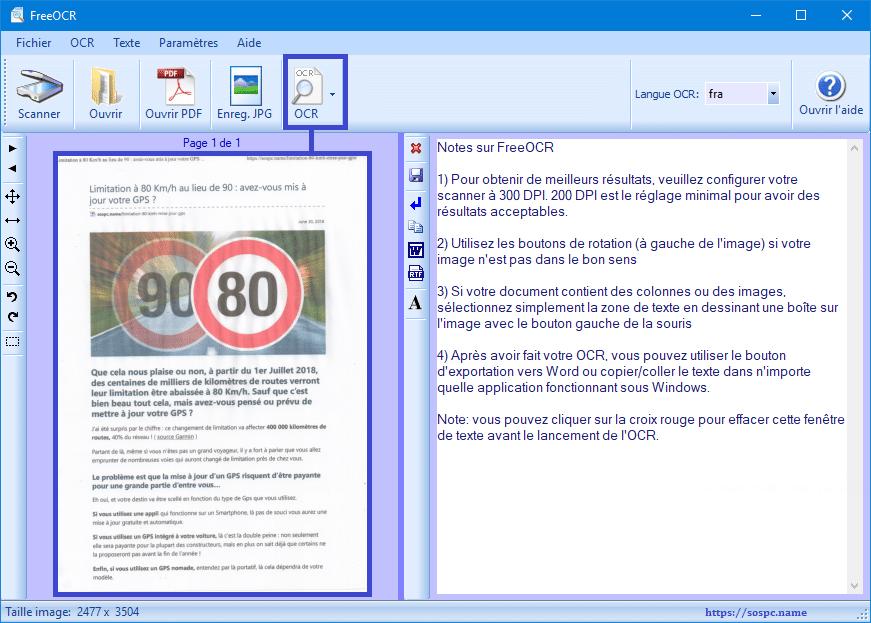 FreeOCR logiciel de reconnaissance de caractères gratuits.