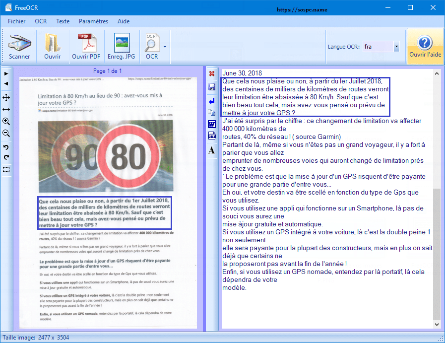 FreeOCR logiciel de reconnaissance de caractères gratuits. Colok Traductions.
