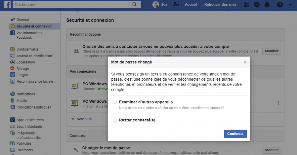 Facebook 50 millions de comptes piratés, capture 5