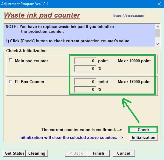 imprimante Epson tampons d'encre en fin de vie waste ink pas counter