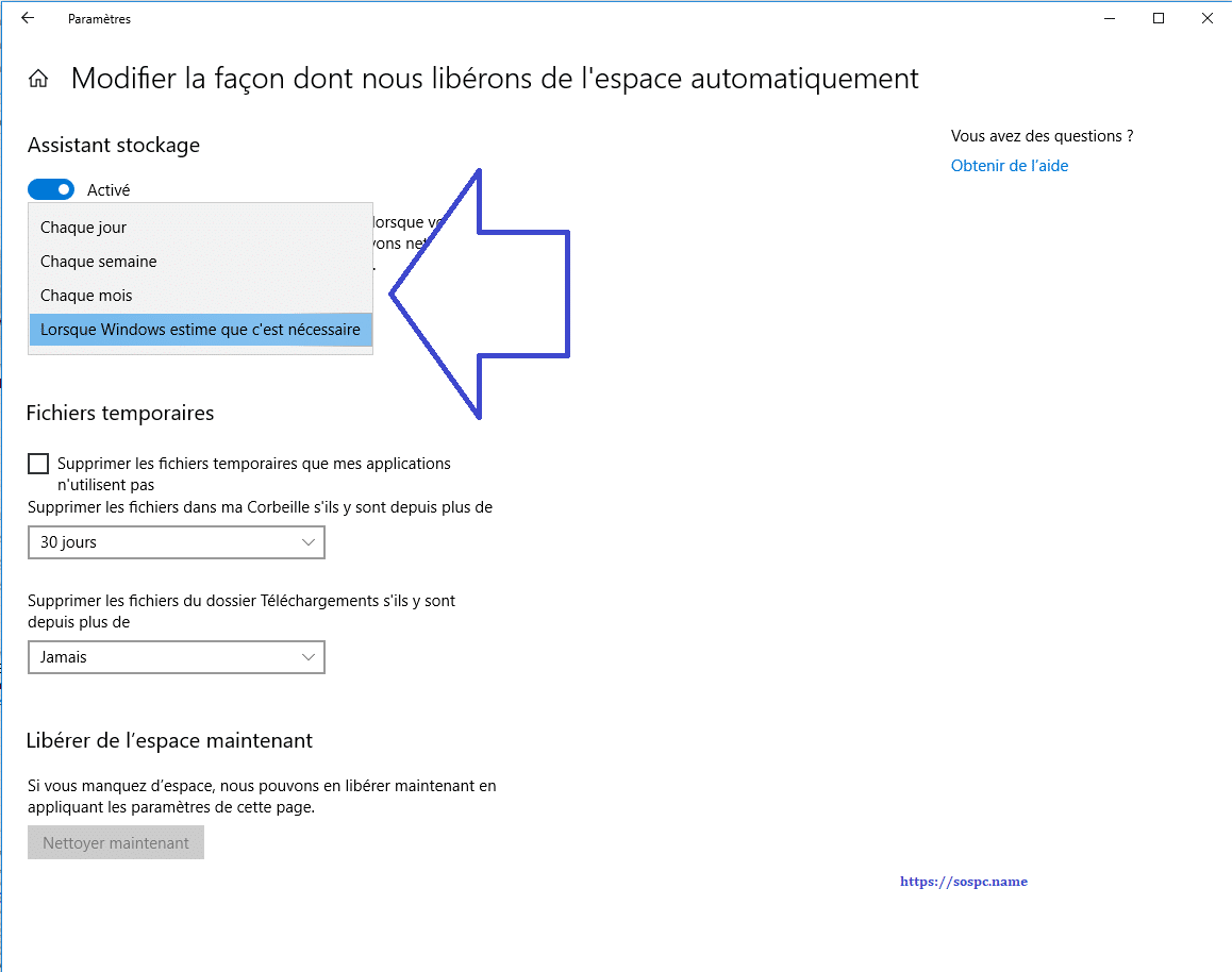 Windows 10 1803 : supprimer les fichiers inutiles www.sospc.name image 13