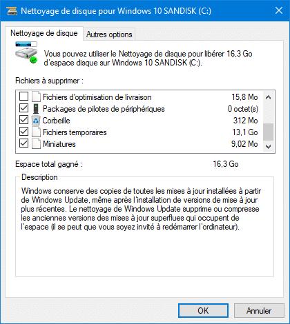 supprimer les fichiers inutiles avec Windows 10
