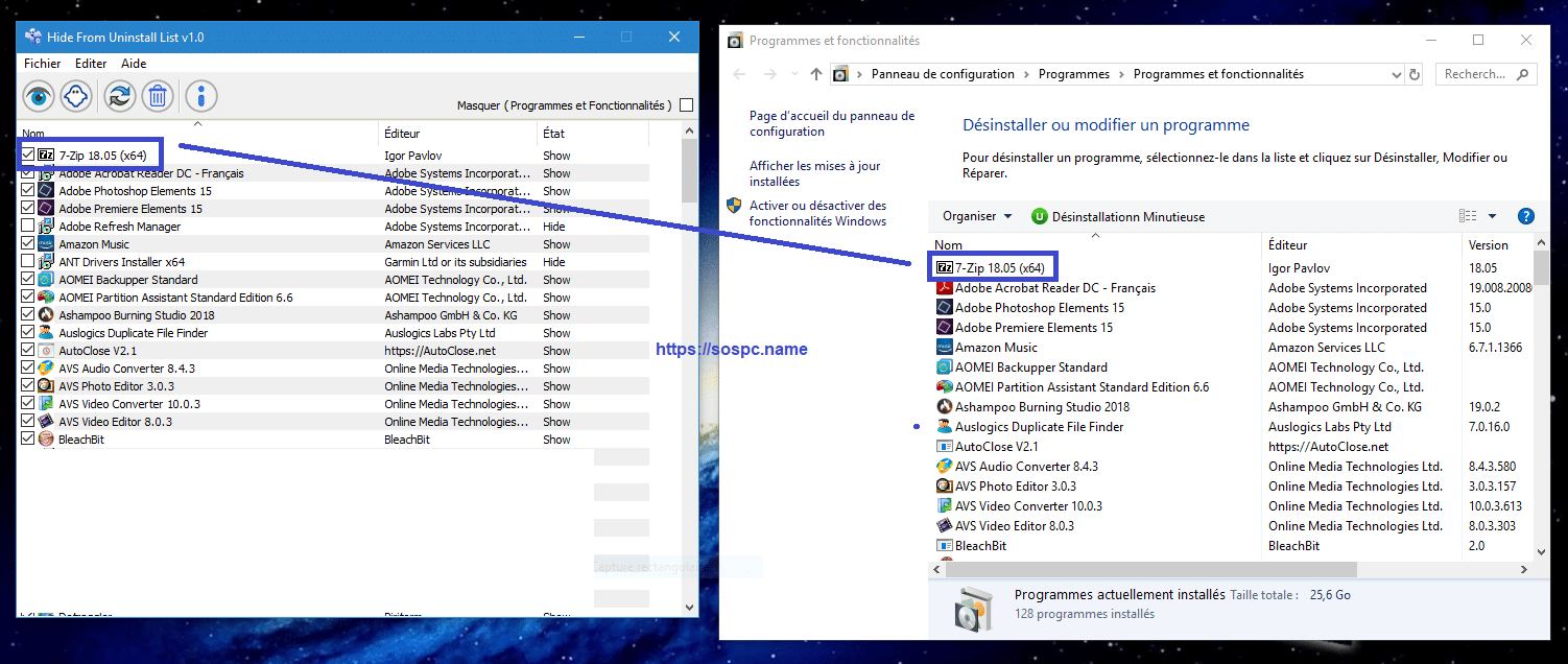 Hide From Uninstall masquer les programmes de l'explorateur image 6