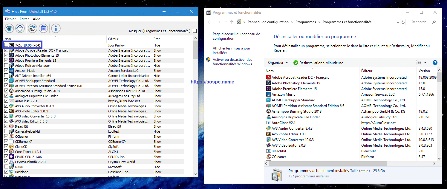 Hide From Uninstall masquer les programmes de l'explorateur image 7