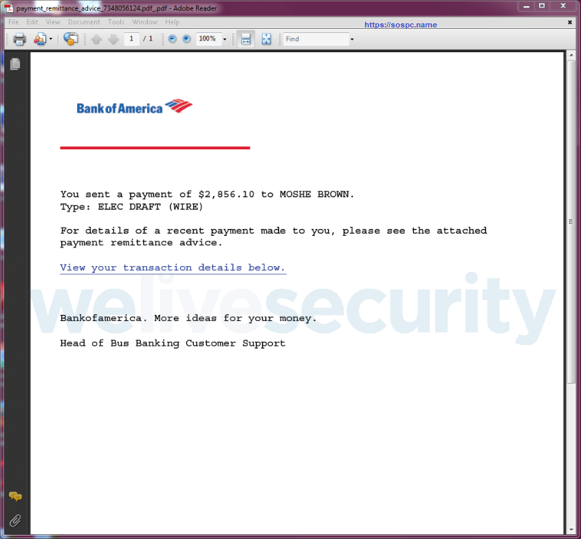 Emotet exemple pdf infection