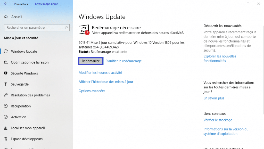 mise à jour windows 10 version 1809