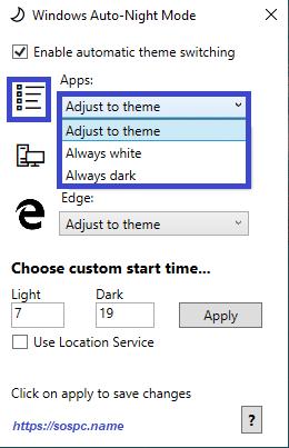 activer automatiquement le thème sombre sous Windows 10 1809 image 11