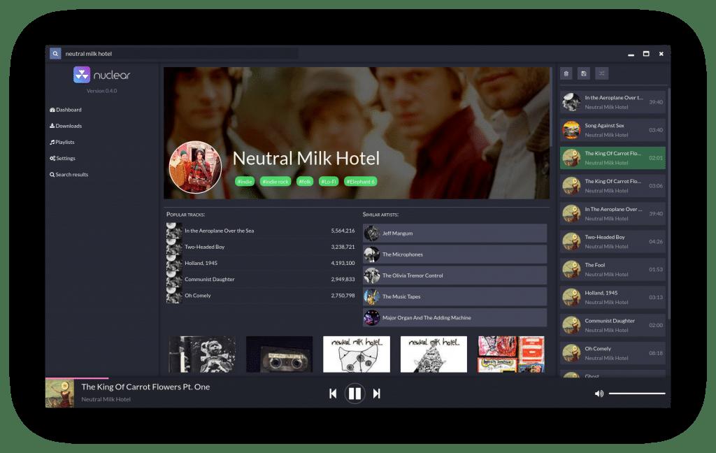 Nuclear, un lecteur de contenus musicaux gratuits à découvrir.