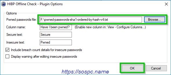 Vérifiez tous les mots de passe KeePass SOSPC.name