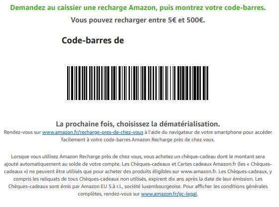 Payer en espèces sur Amazon