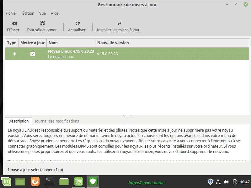L'écran d'accueil de Linux Mint, image 12