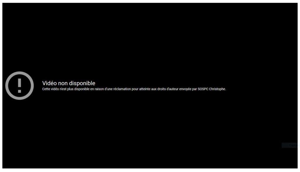 YouTube vient de m'informer de la suppression de la vidéo du plagiaire