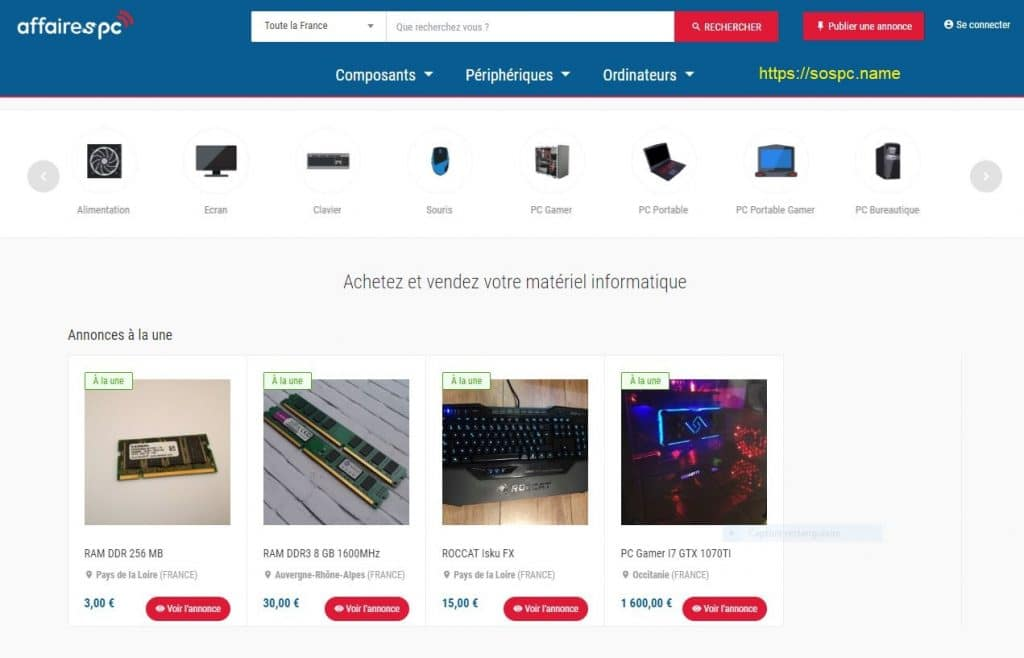 AffairesPC.com acheter ou vendre facilement du matériel informatique d'occasion.
