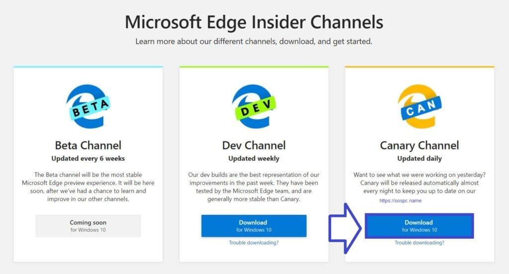 Télécharger Edge en version bêta basé sur Chromium.