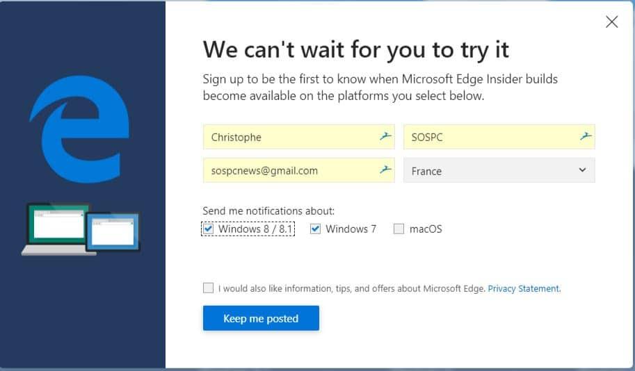 navigateur Edge en version bêta basé sur Chromium.