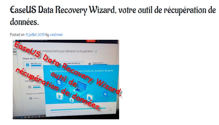 Bon plan : castman.fr offre trois licences EaseUS Data Recovery Wizard.
