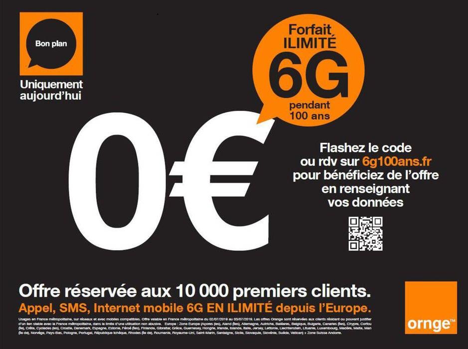 [Bon plan] Forfait illimité 6G en promotion chez Orange.