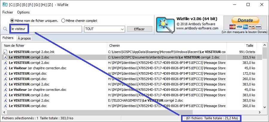 WizFile, trouve très rapidement vos fichiers et vos dossiers.