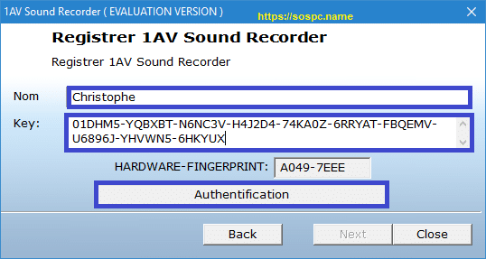 1AV Sound Recorder version française Tutoriel pas à pas.