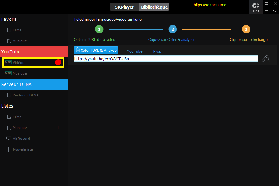 5KPlayer lecteur multimédia tutoriel pas à pas.