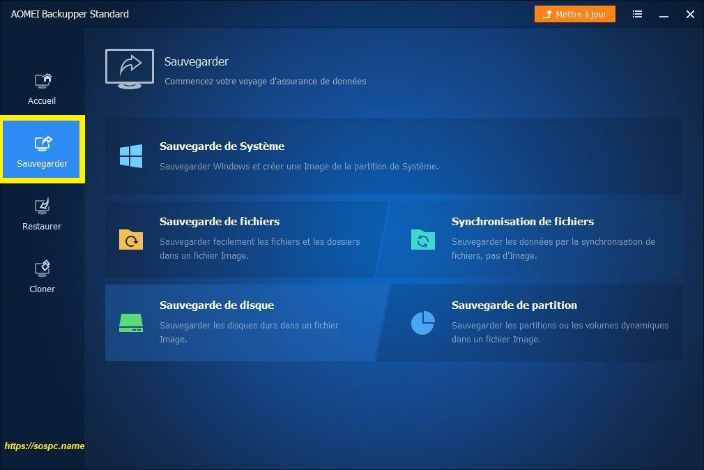 AOMEI Backupper 5 : une nouvelle interface plus conviviale.