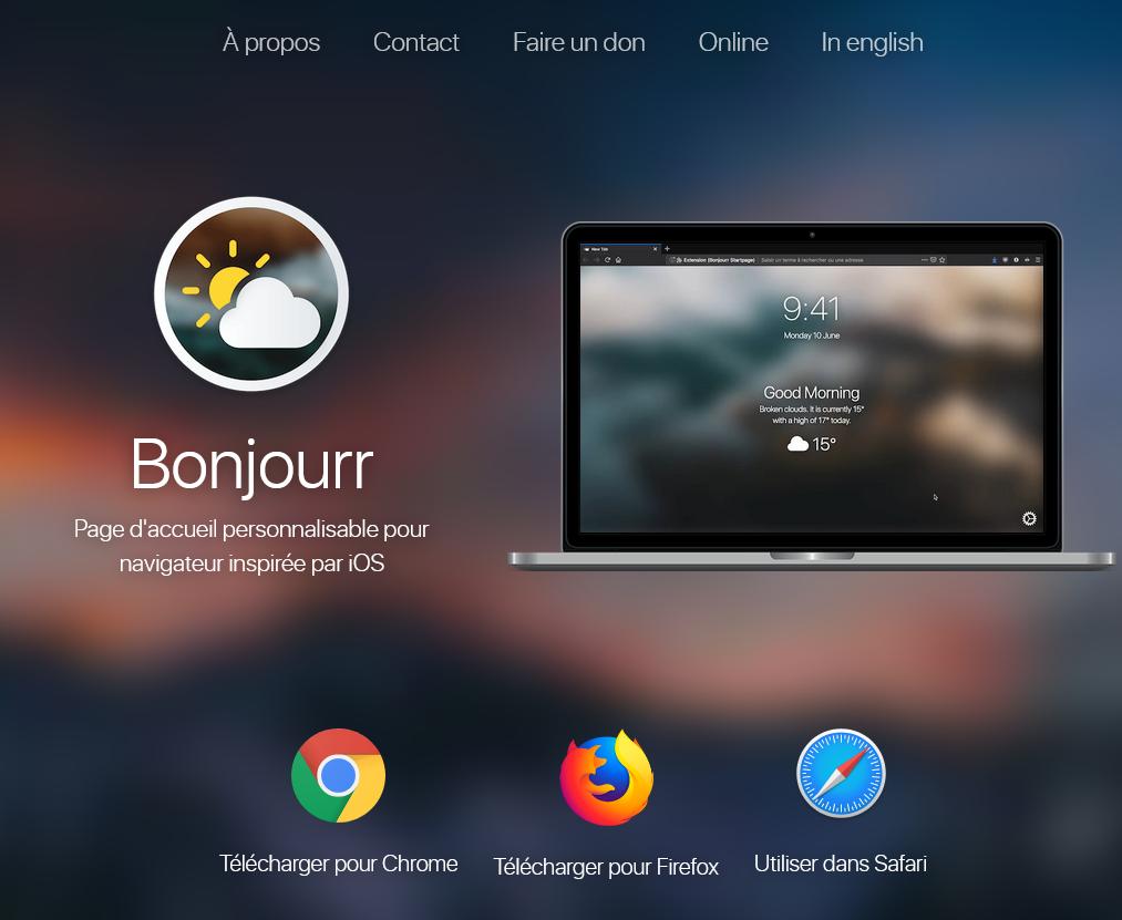 Bonjourr une extension Chrome, Firefox ou Safari,