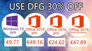 Bons plans : Windows 10 pro @ 9,77€, Office 2019 Pro @ 49,16€ et 2016 Pro à 24,62€ !
