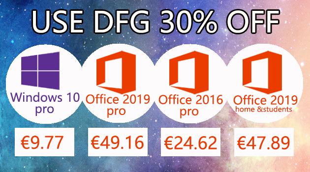 Windows 10 pro @ 9,77€, Office 2019 Pro @ 49,16€ et 2016 Pro à 24,62€ !