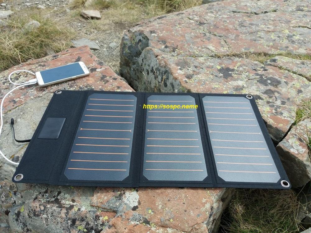 Chargeur à Panneaux Solaires avec 2 Ports USB test en extérieur 1