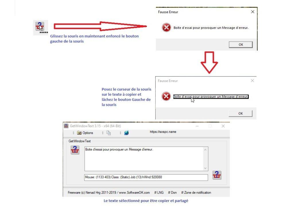 GetWindowsText est un logiciel qui permet de copier les messages d'erreur des boites de dialogue