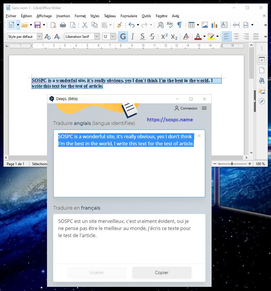 DeepL pour Windows.