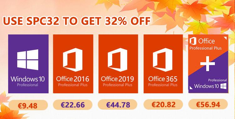 Bons Plans d'automne Windows 10 Pro @ 9.48€, Office 2019 Pro @ 44.78€, Office 365 Pro @ 20.82€.