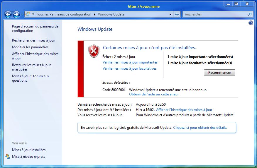 Windows 7: Windows Update à nouveau bloqué ! Par Azamos.