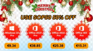 Merry Christmas : Windows 10 Pro @ 9.34€, Office 2019 Pro @ 38.85€ !
