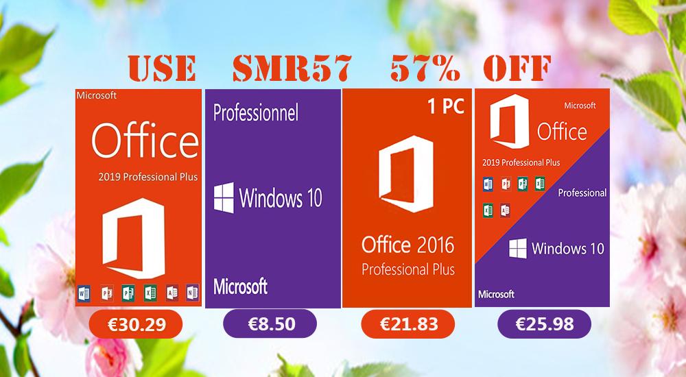 Les promos d'été sont déjà là : Windows 10 Pro @ 8,50€, Office 2019 Pro @ 30,29€ !
