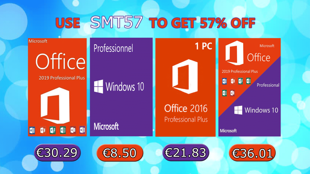 Promotions estivales Windows 10 Pro @ 8,50€, Office 2019 Pro @ 30,29€ !