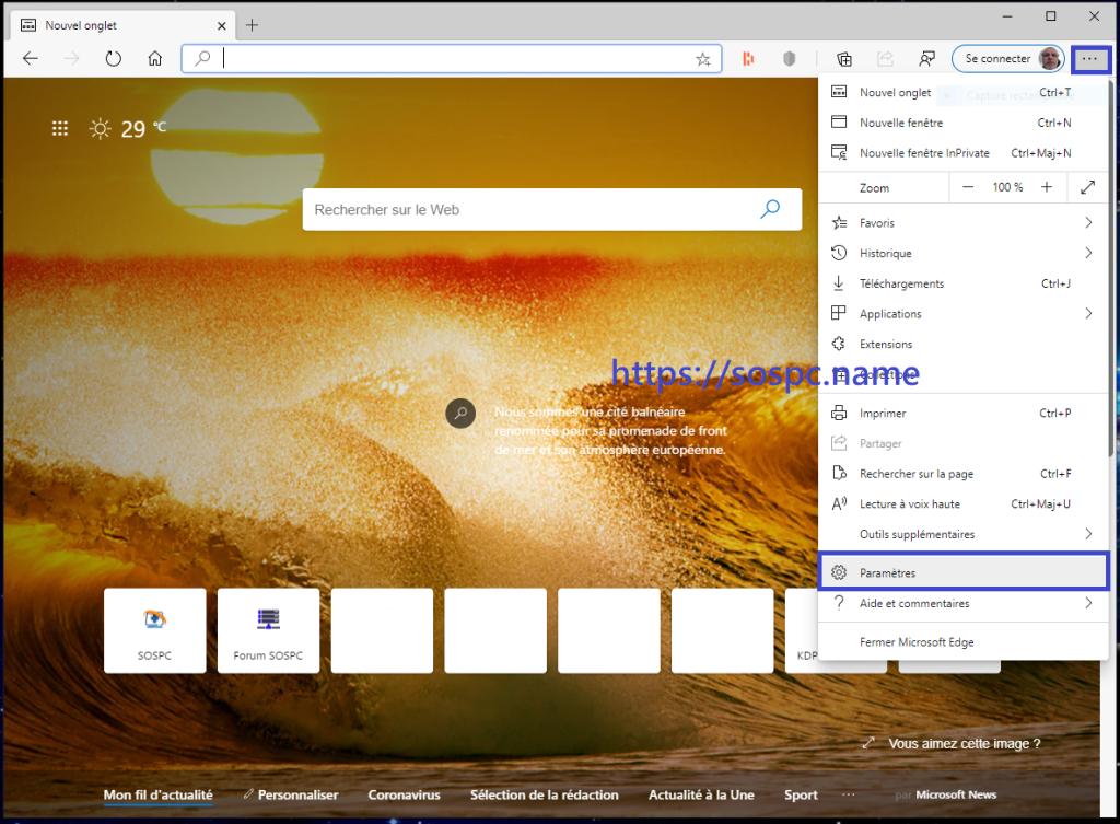 Changer le moteur de recherche par défaut sur Edge