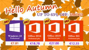 L'automne est là, les promos aussi : Windows 10 Pro @7.81€, Office 2016 Pro @18.78€ !