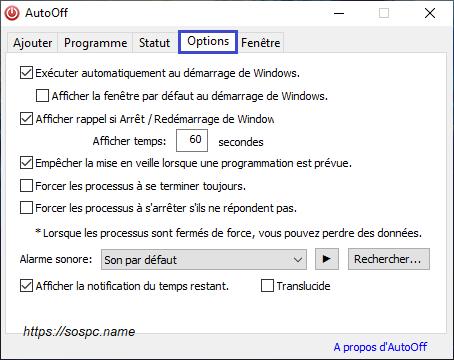 AutoOff version française tutoriel